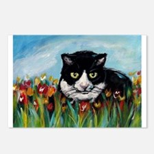 Tuxedo cat tulips Postcards (Package of 8)