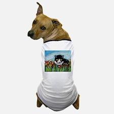 Tuxedo cat tulips Dog T-Shirt