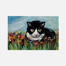 Tuxedo cat tulips Rectangle Magnet