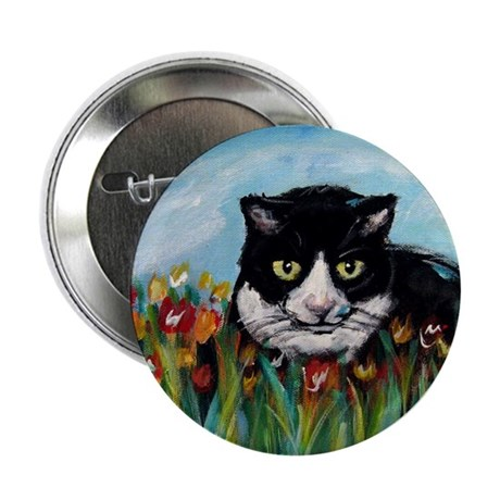 "Tuxedo cat tulips 2.25"" Button (10 pack)"