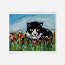 Tuxedo cat tulips Throw Blanket