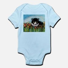 Tuxedo cat tulips Infant Bodysuit