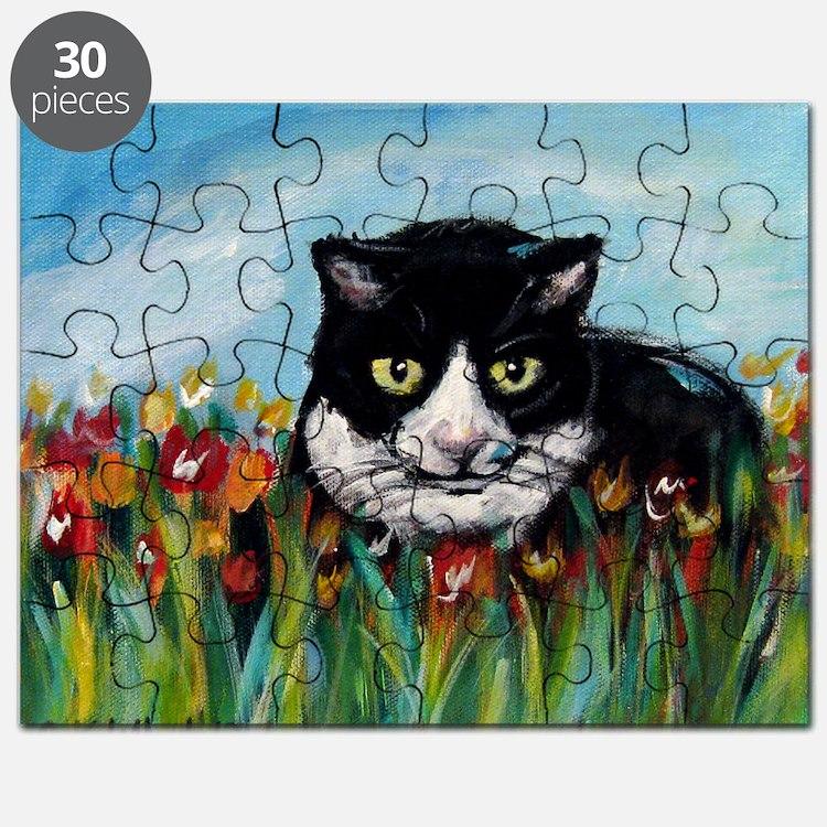 Tuxedo cat tulips Puzzle