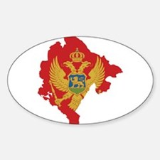 Montenegro Flag and Map Sticker (Oval)