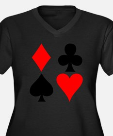 Playing Card Suits Women's Plus Size V-Neck Dark T