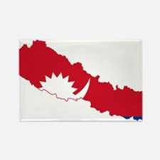 Nepal Flag and Map Rectangle Magnet