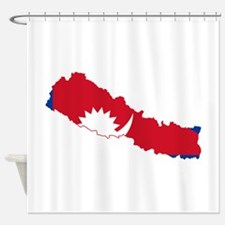 Nepal Flag and Map Shower Curtain