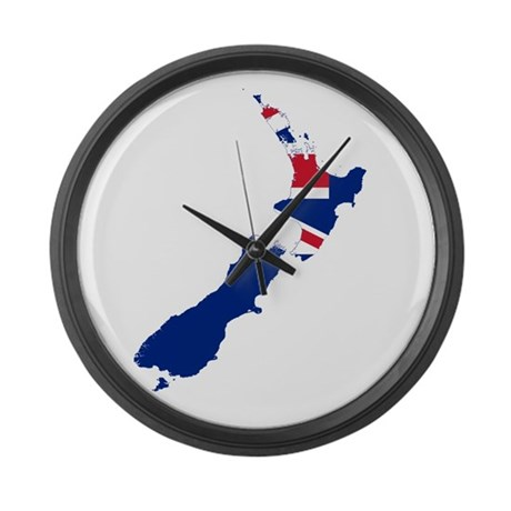 New Zealand Flag And Map Large Wall Clock By Flagsandmaps