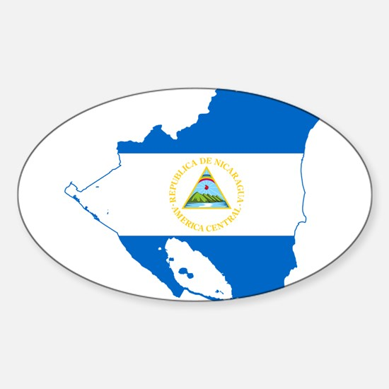 Nicaragua Flag and Map Sticker (Oval)