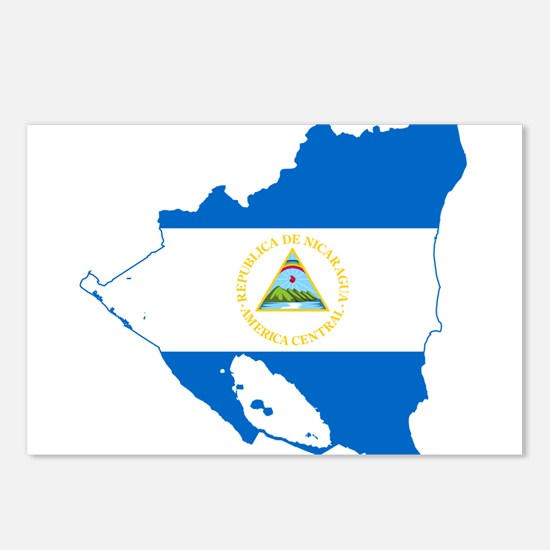 Nicaragua Flag and Map Postcards (Package of 8)
