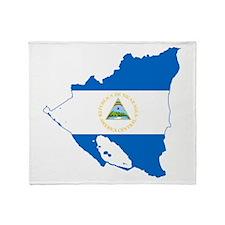 Nicaragua Flag and Map Throw Blanket