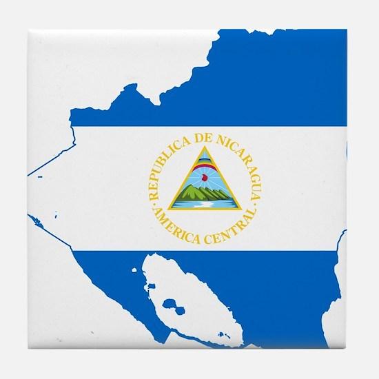Nicaragua Flag and Map Tile Coaster