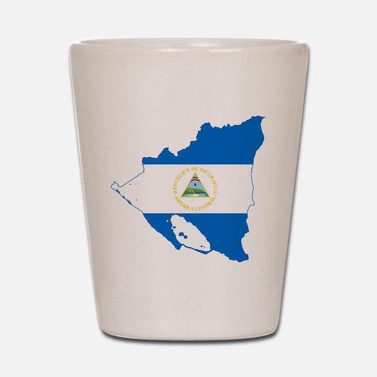 Nicaragua Flag and Map Shot Glass
