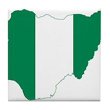 Nigeria Flag and Map Tile Coaster