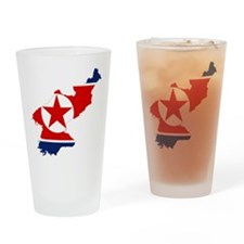 North Korea Flag and Map Drinking Glass