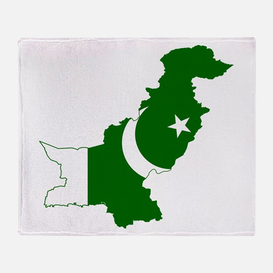 Pakistan Flag and Map Throw Blanket