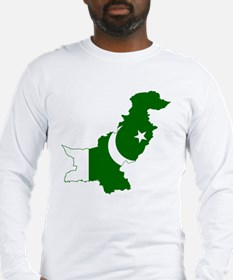 Pakistan Flag and Map Long Sleeve T-Shirt