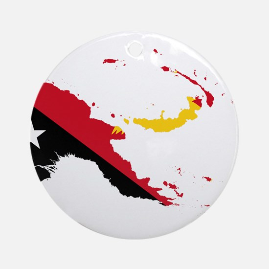 Papua New Guinea Flag and Map Ornament (Round)