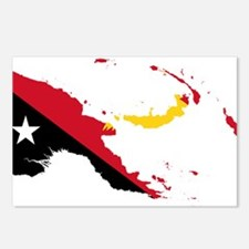 Papua New Guinea Flag and Map Postcards (Package o