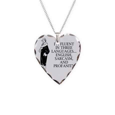 Three Languages Necklace Heart Charm