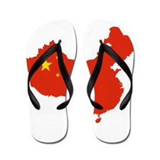 China Flag and Map Flip Flops