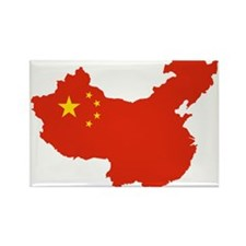 China Flag and Map Rectangle Magnet