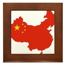 China Flag and Map Framed Tile