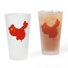 China Flag and Map Drinking Glass