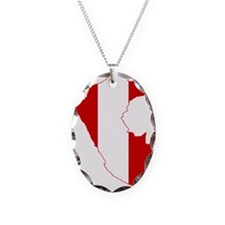 Peru Flag and Map Necklace