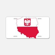 Poland State Ensign Flag and Map Aluminum License