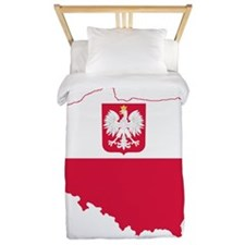 Poland State Ensign Flag and Map Twin Duvet