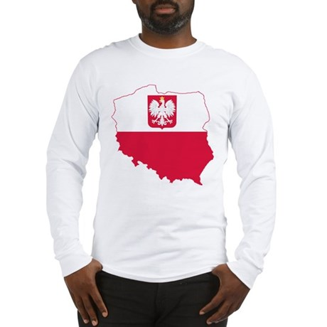 Poland State Ensign Flag and Map Long Sleeve T-Shi