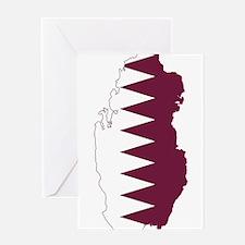 Qatar Flag and Map Greeting Card
