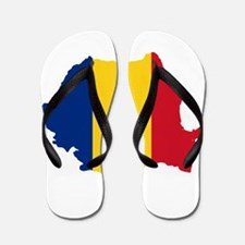 Romania Flag and Map Flip Flops