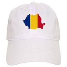 Romania Flag and Map Baseball Cap