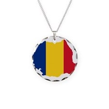 Romania Flag and Map Necklace