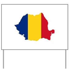 Romania Flag and Map Yard Sign