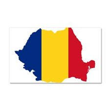 Romania Flag and Map Car Magnet 20 x 12