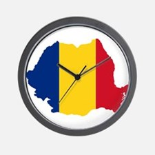 Romania Flag and Map Wall Clock