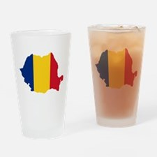 Romania Flag and Map Drinking Glass
