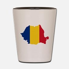 Romania Flag and Map Shot Glass