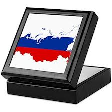 Russia Flag and Map Keepsake Box