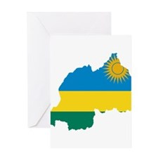 Rwanda Flag and Map Greeting Card