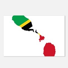 Saint Kitts and Nevis Flag and Map Postcards (Pack