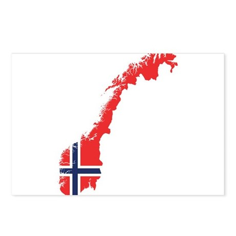 Flag Map of Norway Postcards (Package of 8)