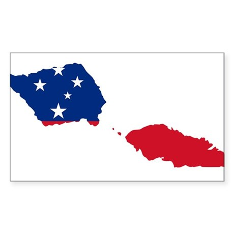 Samoa Flag and Map Sticker (Rectangle)