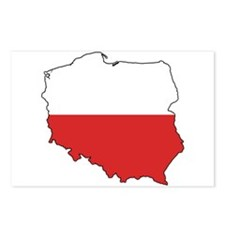 Flag Map of Poland Postcards (Package of 8)