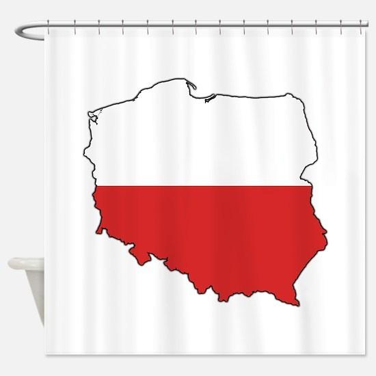 Flag Map of Poland Shower Curtain