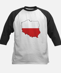 Flag Map of Poland Kids Baseball Jersey