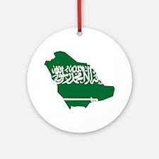 Saudi Arabia Flag and Map Ornament (Round)
